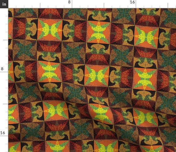 Colorful fabrics digitally printed by Spoonflower - terra cotta tiles