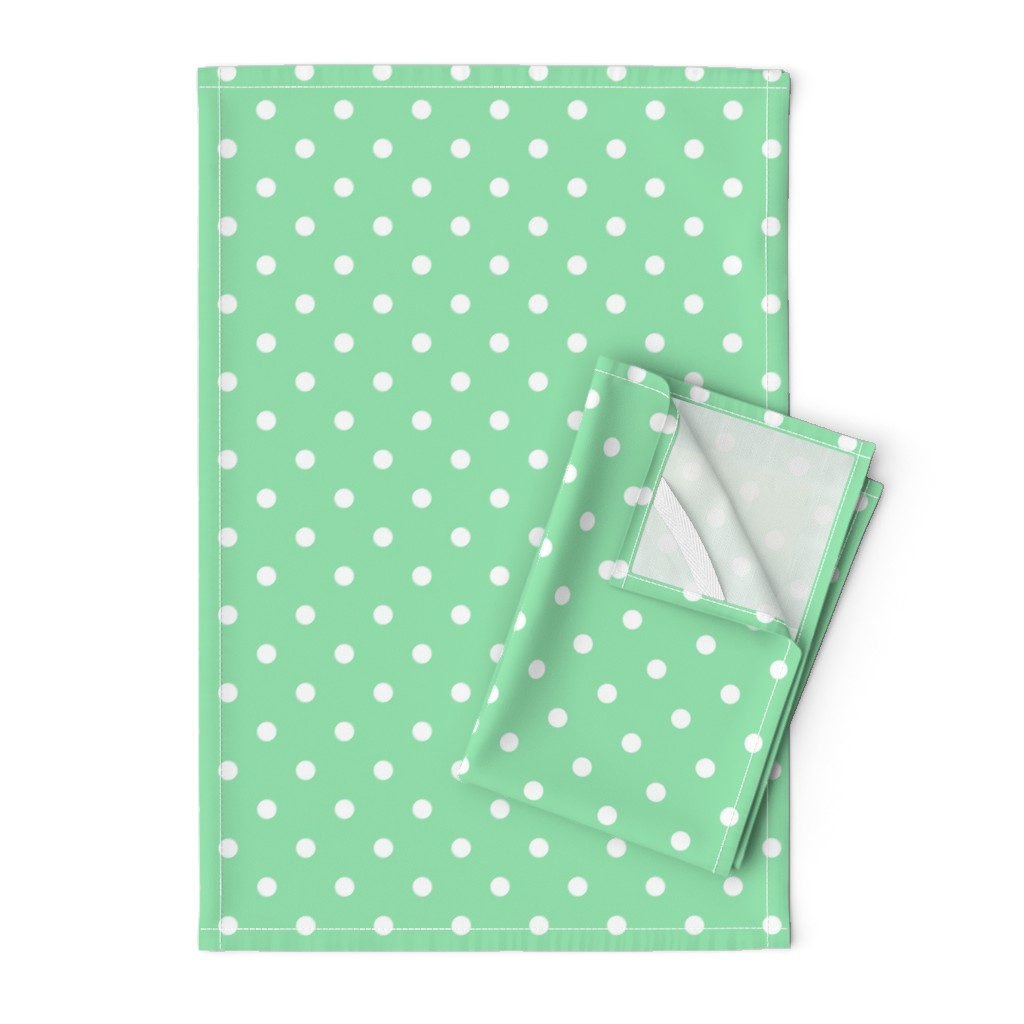 Orpington Tea Towels featuring Mint Green and White Polka Dots by paper_and_frill