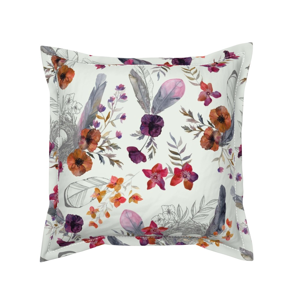 Serama Throw Pillow featuring Feathered Nest Dove Gray by katebillingsley