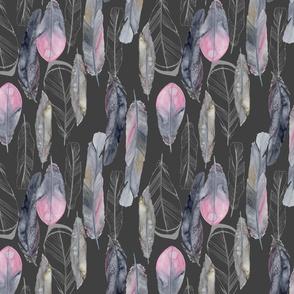Boho Feathers Dark Gray