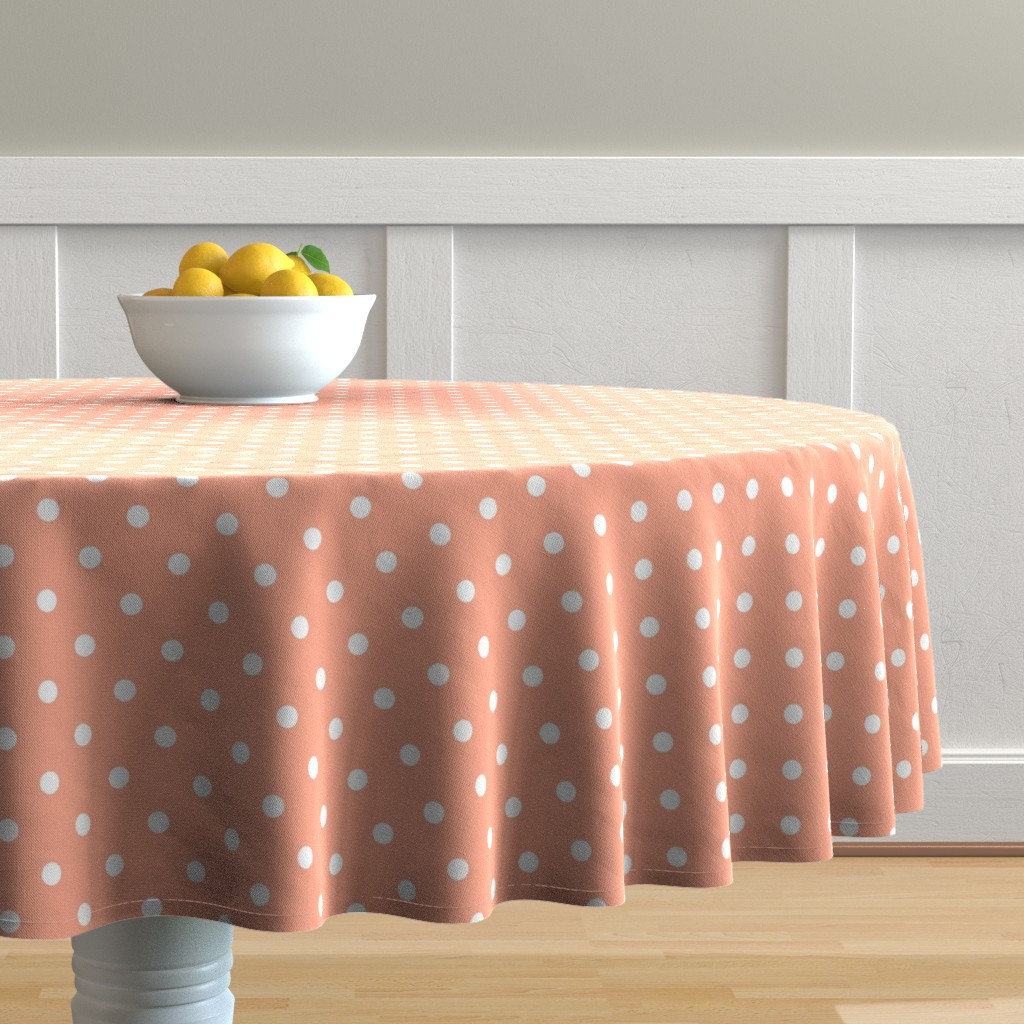 Malay Round Tablecloth featuring Peach and White Polka Dots by paper_and_frill
