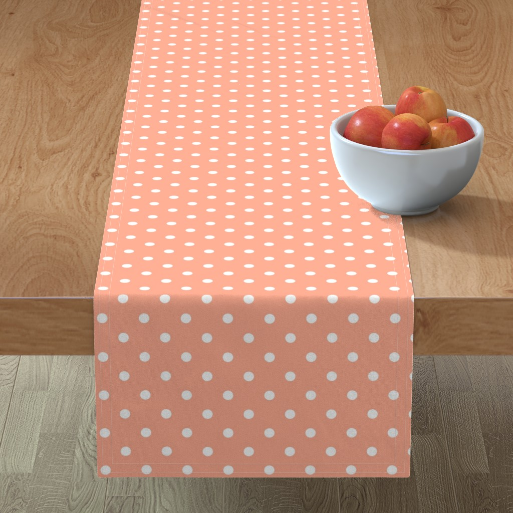 Minorca Table Runner featuring Peach and White Polka Dots by paper_and_frill