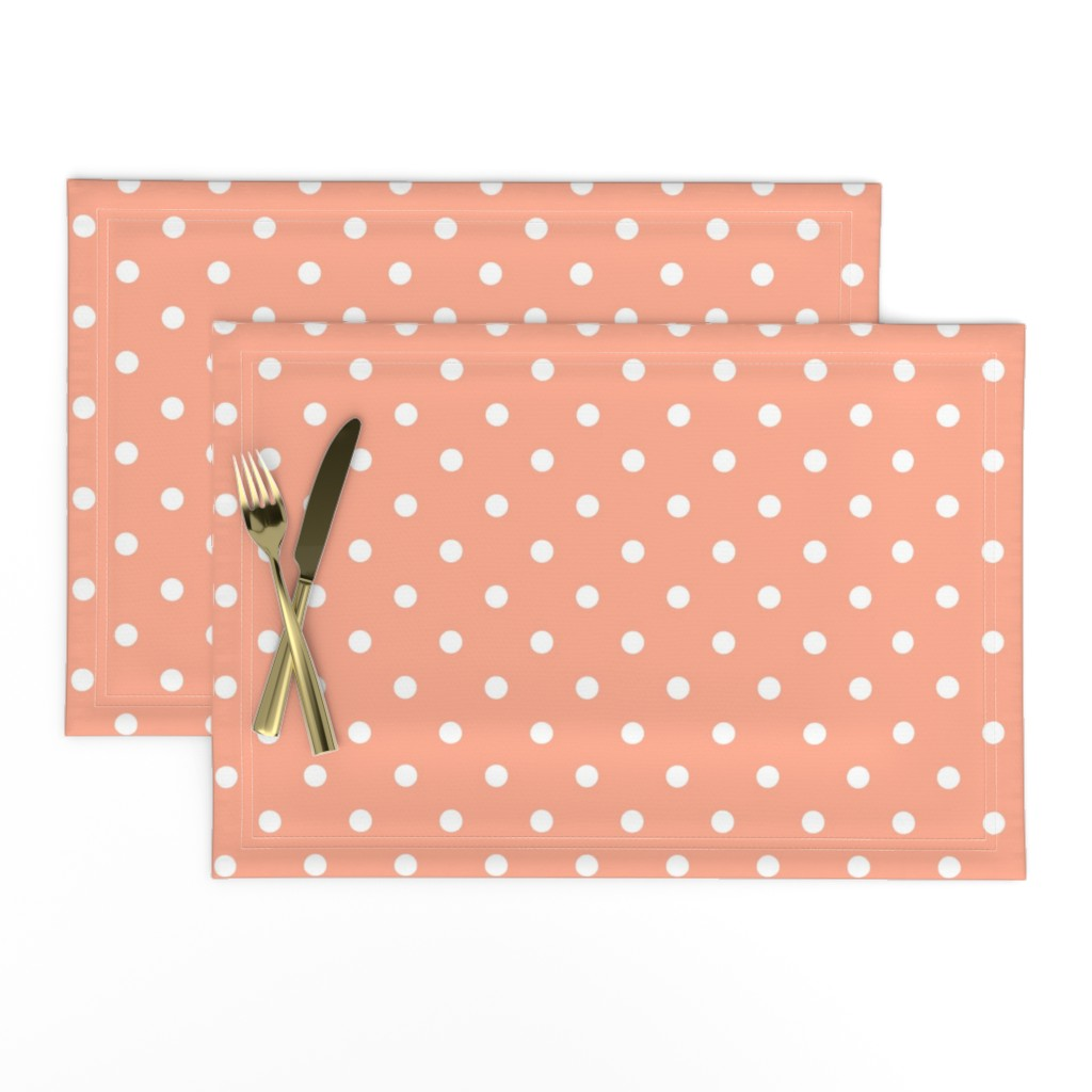Lamona Cloth Placemats featuring Peach and White Polka Dots by paper_and_frill