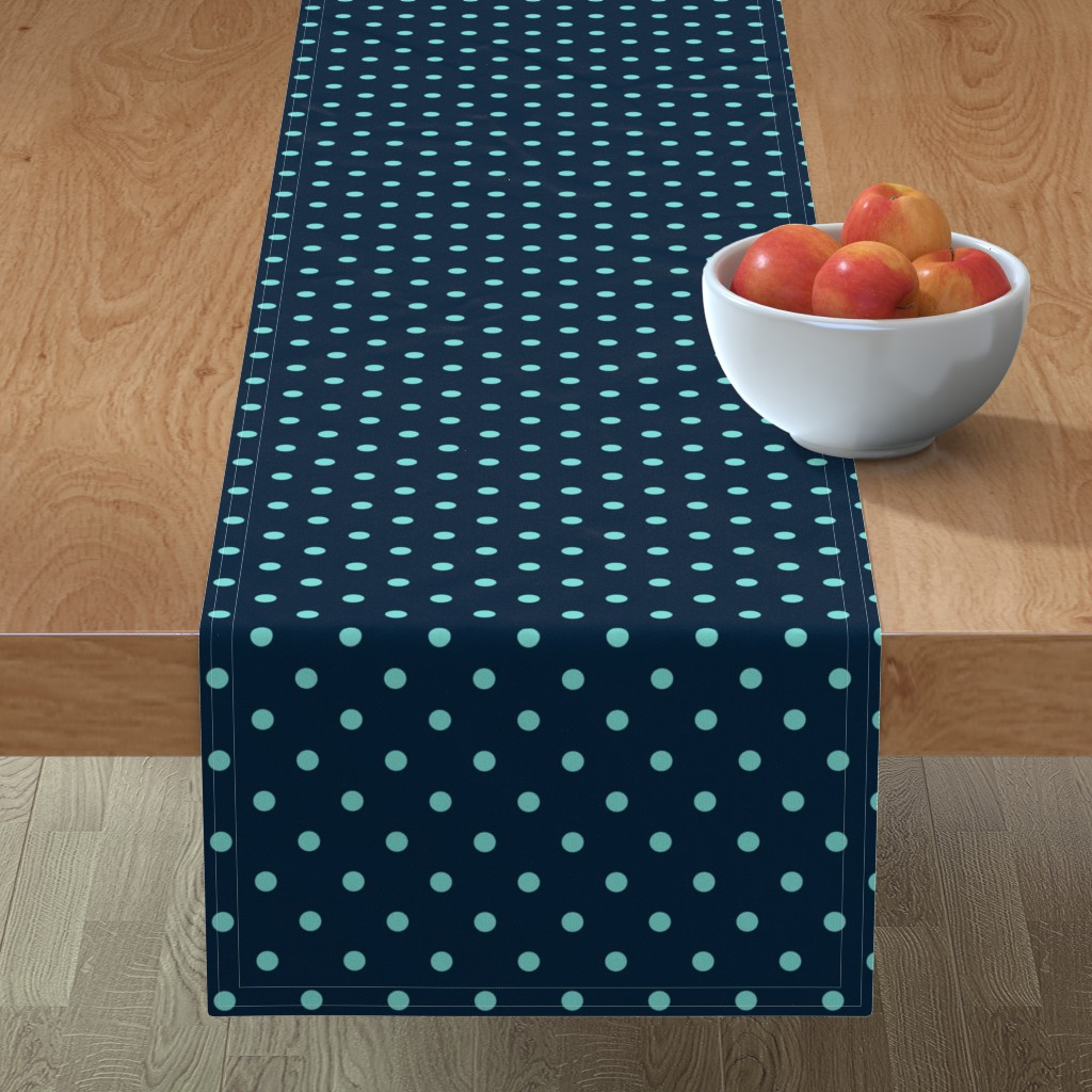 Minorca Table Runner featuring Navy and Turquoise Polka Dots by paper_and_frill