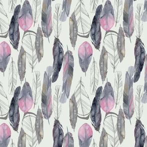 Boho Feathers Dove Gray