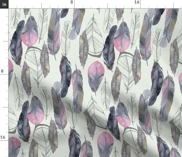 Bohemian Cotton Sateen Tablecloth by Spoonflower Watercolor Feathers Tablecloth Boho Feathers Dove Gray by katebillingsley