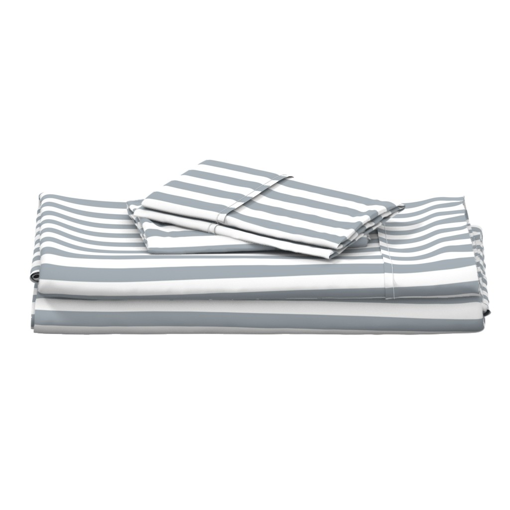 Langshan Full Bed Set featuring Grey Mist Wide Stripes by paper_and_frill