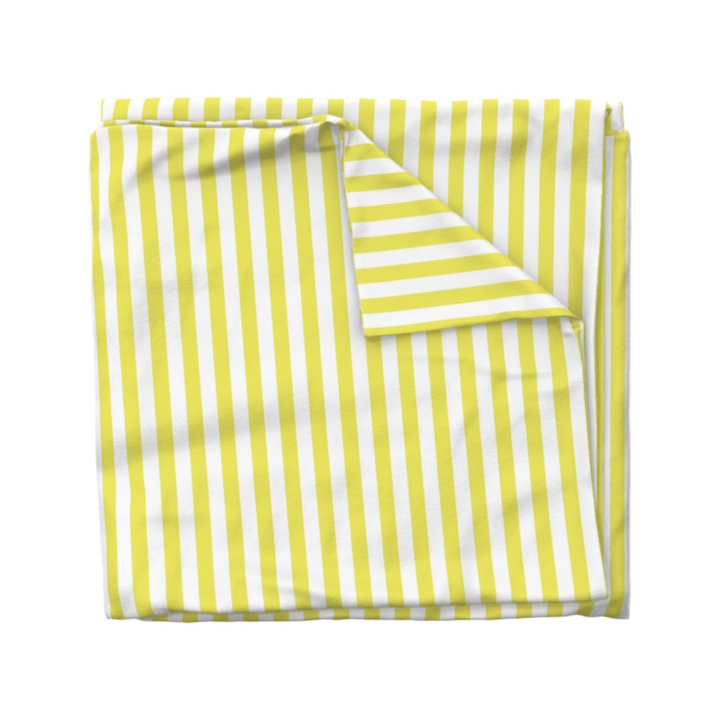 Wyandotte Duvet Cover featuring Citron and White Wide Stripes by paper_and_frill