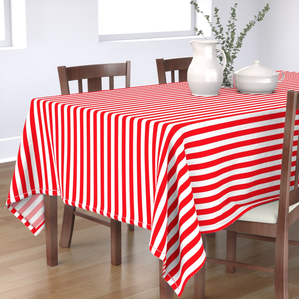 Bantam Rectangular Tablecloth featuring Carmine Red and White Stripes by paper_and_frill