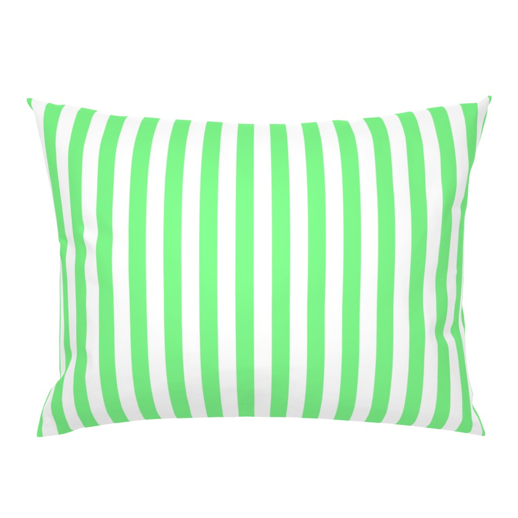 Campine Pillow Sham featuring Apple-Green-and-White-Wide-Stripes by paper_and_frill