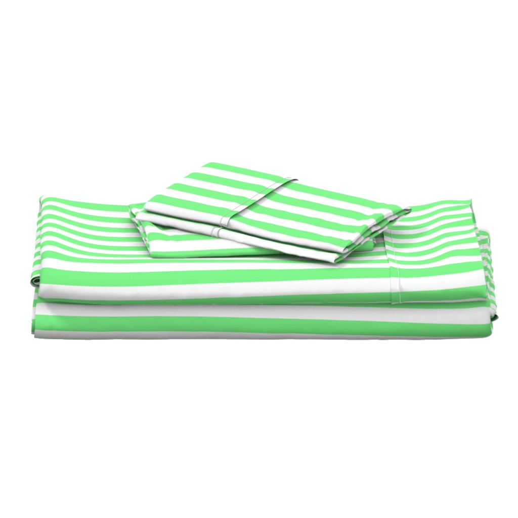 Langshan Full Bed Set featuring Apple-Green-and-White-Wide-Stripes by paper_and_frill