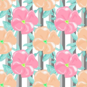The floral pattern on striped background .