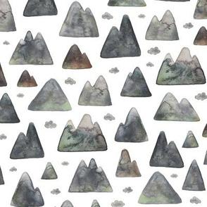 Watercolour Mountain Range