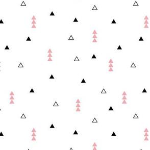Cool Scandinavian style mini triangle geometric arrow print baby girl pink