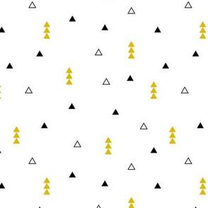 Cool Scandinavian style mini triangle geometric arrow print gender neutral mustard yellow
