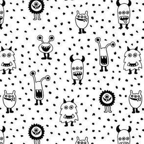 Super freaky monsters cool quirky fantasy creatures gender neutral monochrome