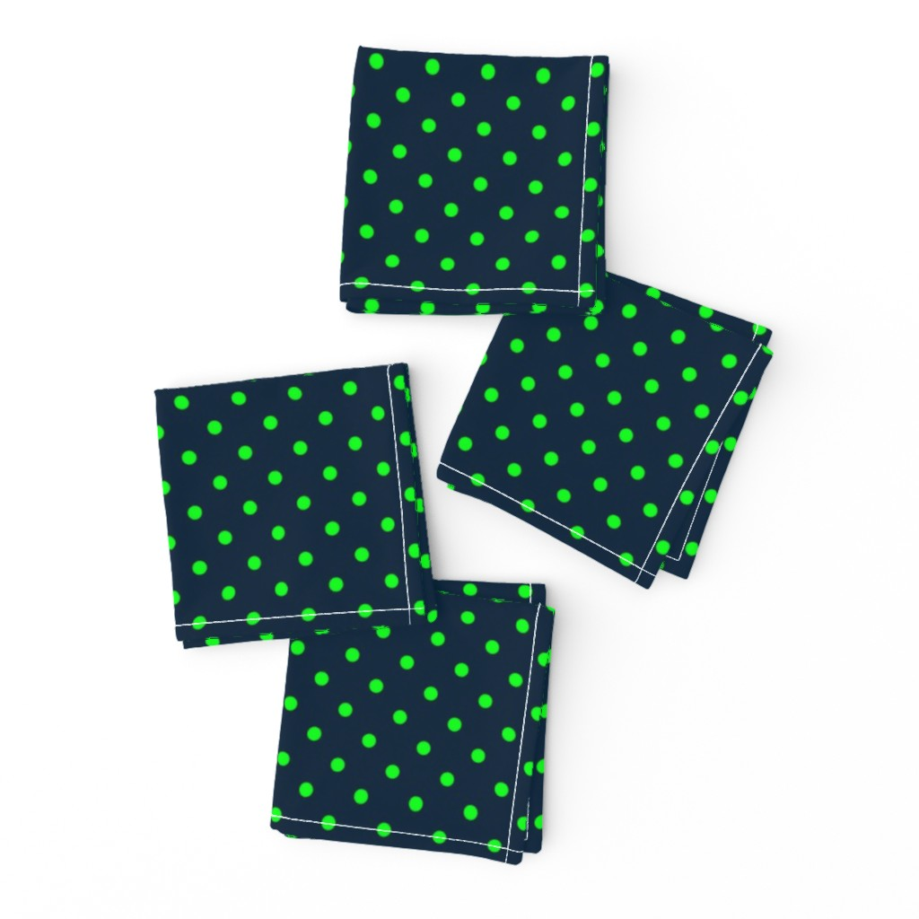 Frizzle Cocktail Napkins featuring Mini Navy-and-Lime-Polka-Dots by paper_and_frill