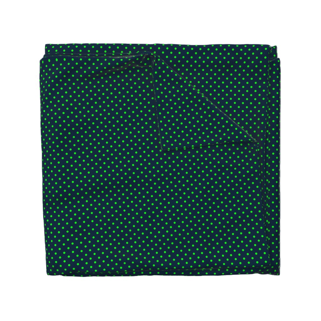 Wyandotte Duvet Cover featuring Mini Navy-and-Lime-Polka-Dots by paper_and_frill