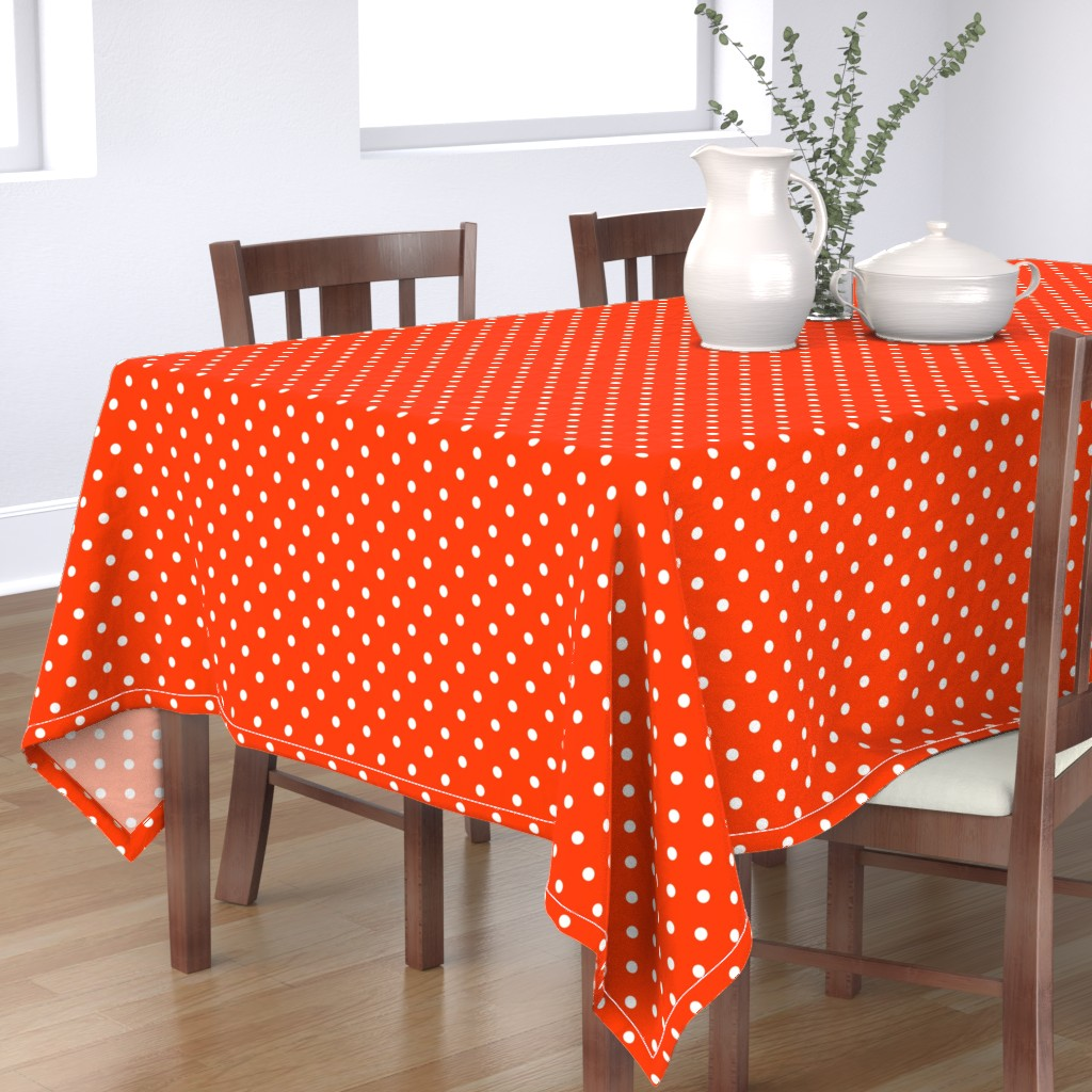 Bantam Rectangular Tablecloth featuring Orange-Pop-and-White-Polka-Dots by paper_and_frill