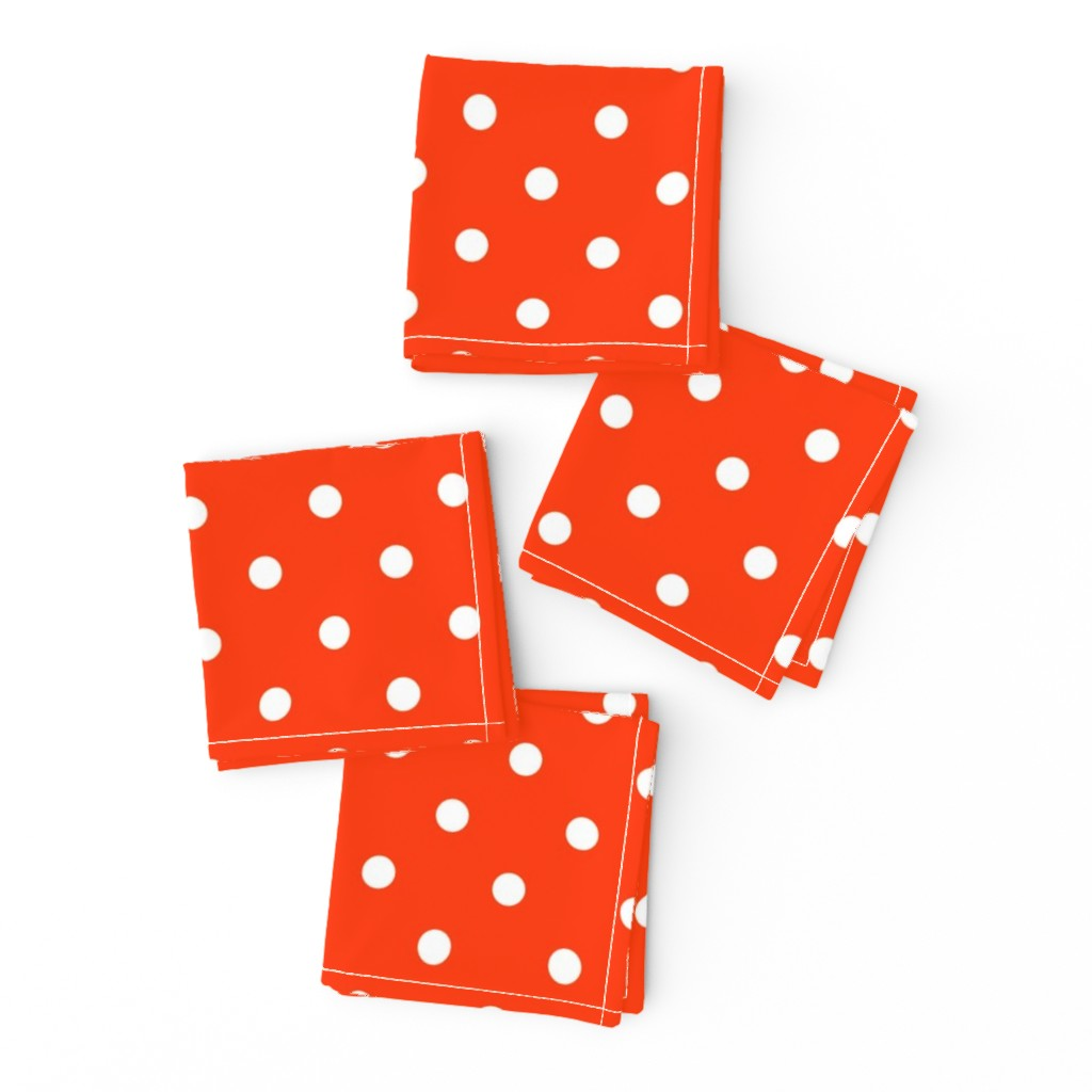 Frizzle Cocktail Napkins featuring Orange-Pop-and-White-Polka-Dots by paper_and_frill
