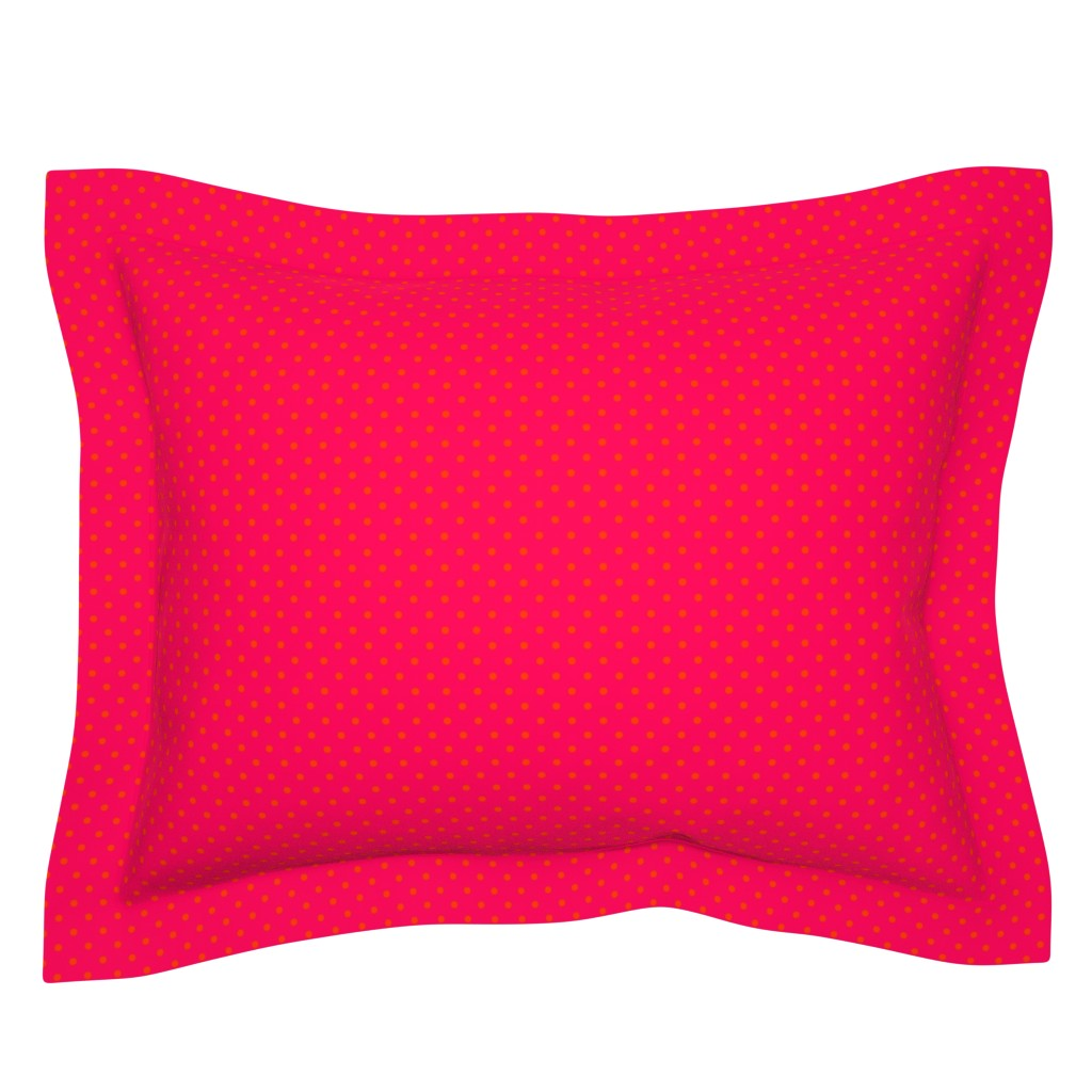 Sebright Pillow Sham featuring Orange-and-Pink-Pop-Polka-Dots by paper_and_frill