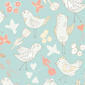 BIRDS AND BLOOMS GREEN