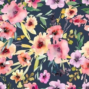 Watercolor flowers on dark background