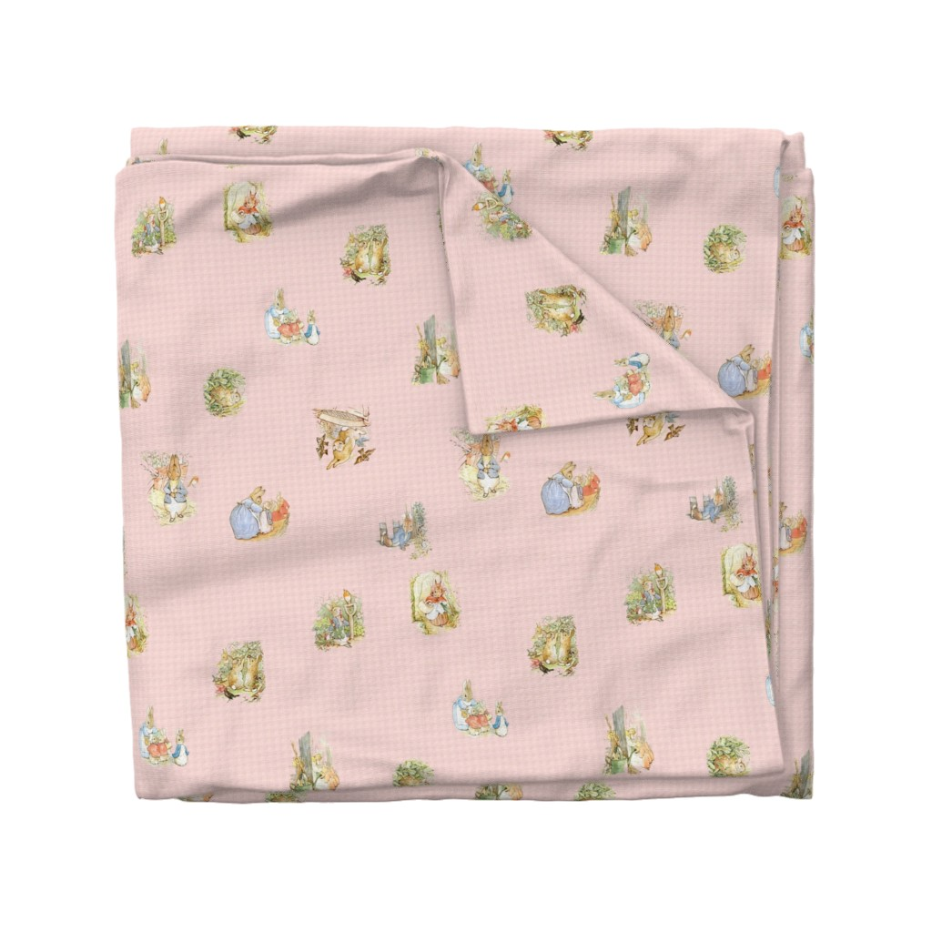 Wyandotte Duvet Cover featuring Peter Rabbit Character Toss Light Pink Gingham by aspenartsstudio