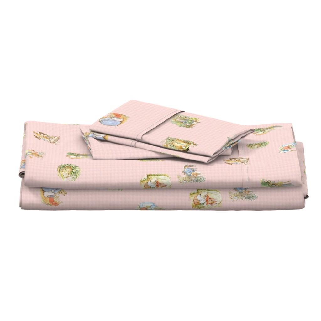 Langshan Full Bed Set featuring Peter Rabbit Character Toss Light Pink Gingham by aspenartsstudio