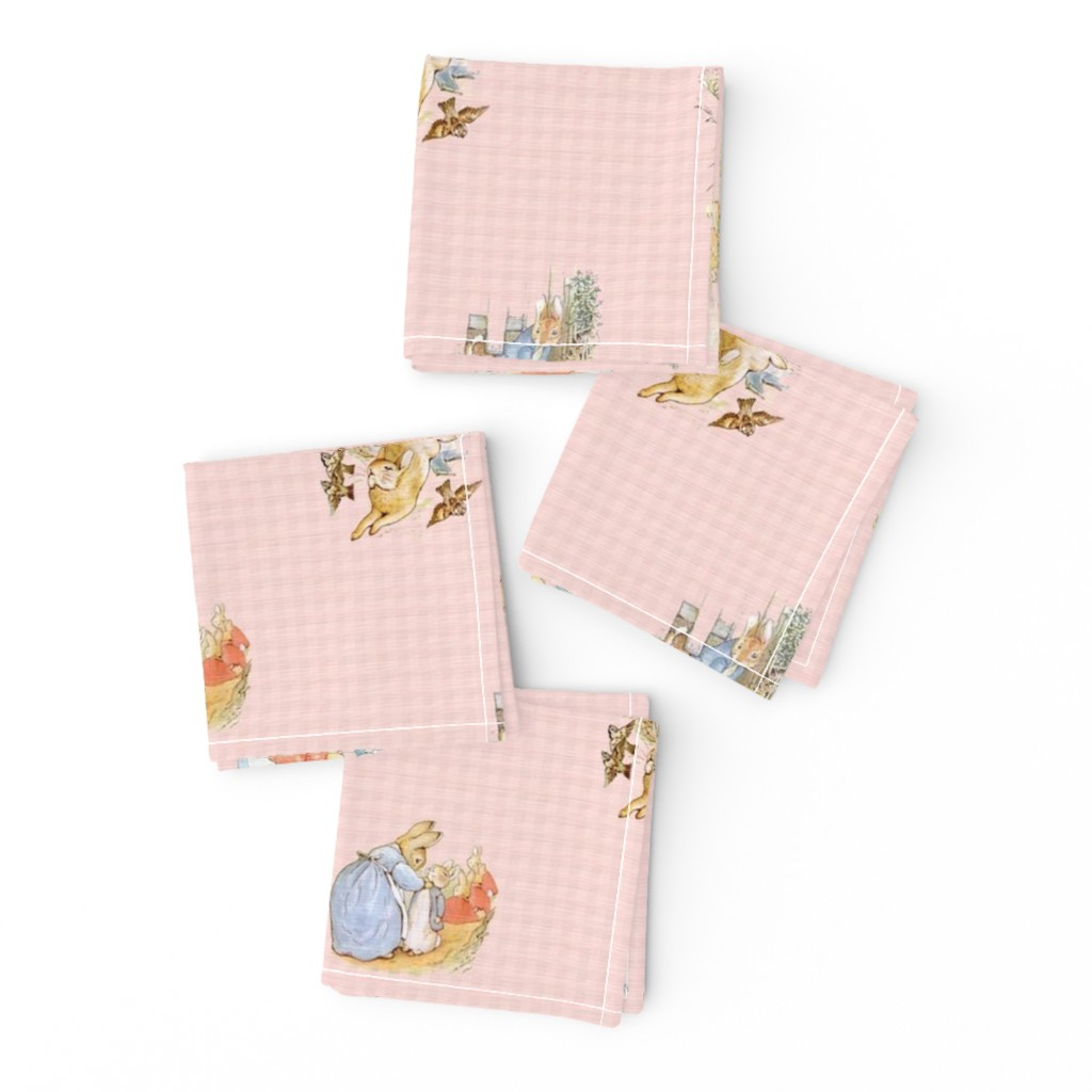 Frizzle Cocktail Napkins featuring Peter Rabbit Character Toss Light Pink Gingham by aspenartsstudio