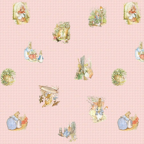 Peter Rabbit Character Toss Light Pink Gingham