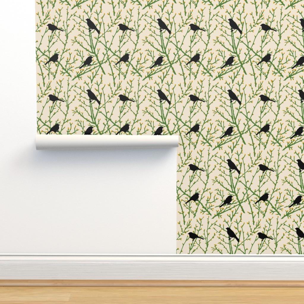 Isobar Durable Wallpaper featuring branchy bird - grass/sand/gold/black by cinneworthington