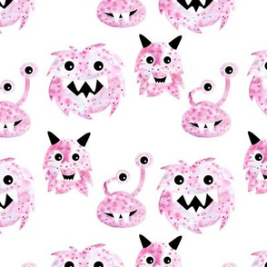 Super freaky fantasy creatures watercolor monsters pink lilac