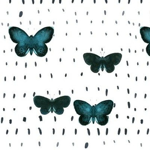 Green butterfly_black dots