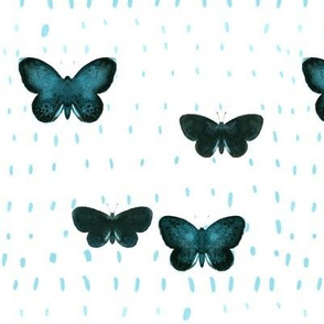 Green butterfly_Blue dots