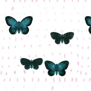 Green butterfly_pink dots
