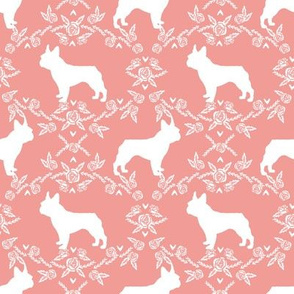 french bulldog florals silhouette frenchie dog peach