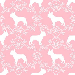 french bulldog florals silhouette frenchie dog pink