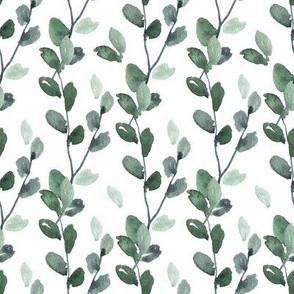 Watercolor Greenery Green Leaves Branches Bright Emerald