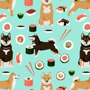 shiba inu dog fabric sushi and dogs fabric print - aqua