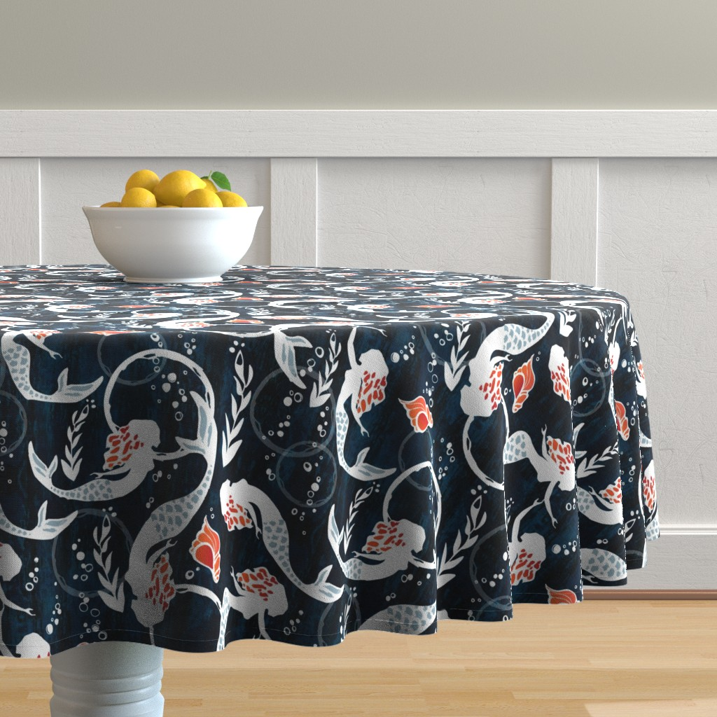 Malay Round Tablecloth featuring watercolor mermaids by mint_tulips