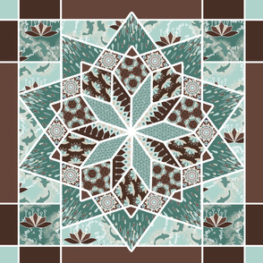 Star Quilt Squares in Mint and Chocolate, Wholecloth Quilt