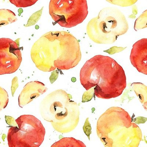 Watercolor apples red & yellow kitchen fruits with stains