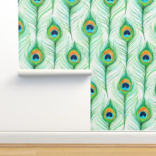 Emerald Painted Peacock Feathers On Ligh Spoonflower