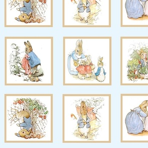 Peter Rabbit Quilt Block Panel No. 1  - Ice Blue
