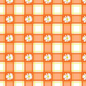 Daisies on Orange Plaid