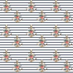 "2"" Blue Stripes Boho Floral Anchor"