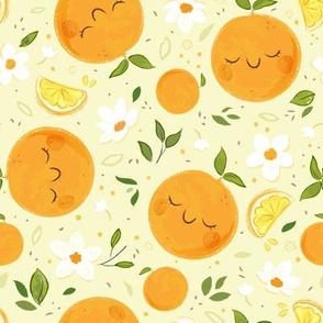 Orange Citrus Pattern- Larger Print