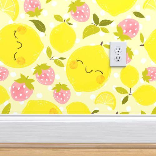 Strawberry Lemon Pattern Larger Print Spoonflower