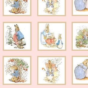 Peter Rabbit Quilt Block Panel No. 1  - Lt. Pink